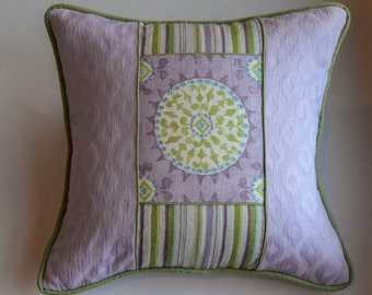 Custom Decorative Lavender and Green Color Block Pillow Cover