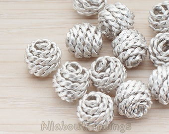 BDS026-02-MR // Matte Original Rhodium Plated Rope Textured Metal Bead, 2 Pc