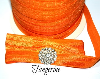 Tangerine 5/8 Fold Over Elastic - FOE - Foldover Elastic - Elastic by the yard - Shiny Elastic - DIY - Headband - You choose 5 or 10 yards