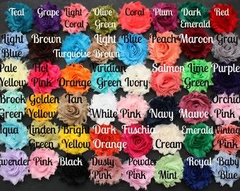 Shabby Flowers - Chiffon Flowers -  56 Colors - Shabby Chic - Wholesale Shabby Flowers - U Choose Colors - 1/2 or 1 yard
