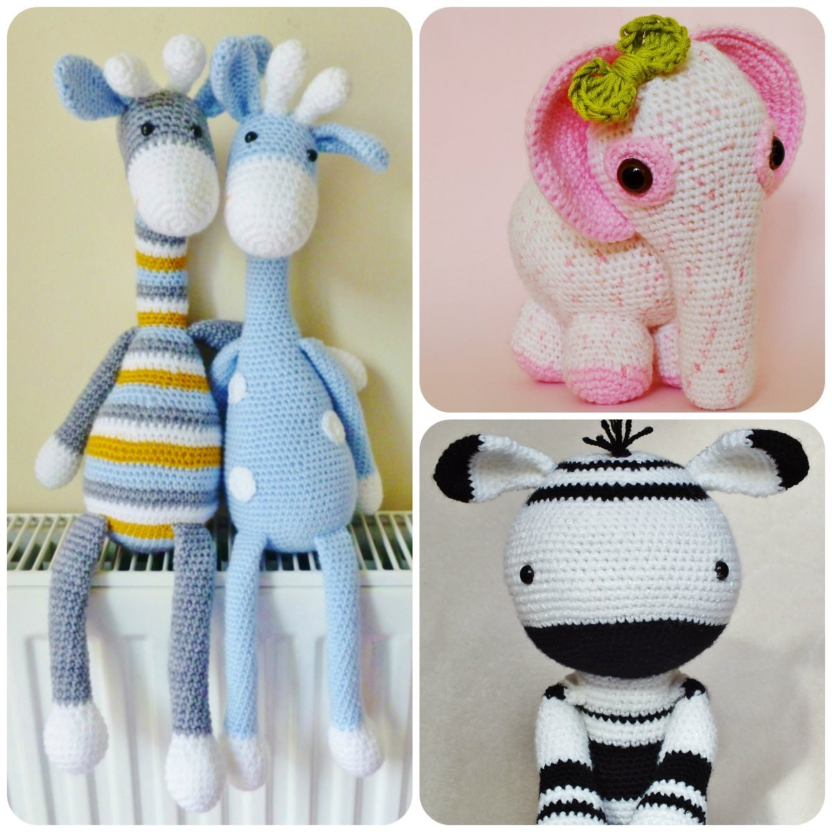 Amigurumi Yarn Pack : Crochet Amigurumi PATTERN Pack Special Offer Giraffe Elephant