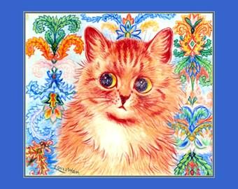 "8x10"" Cotton Canvas Print, Orange Cat, Louis Wain, Early 1900, Victorian, Whimsical Feline"