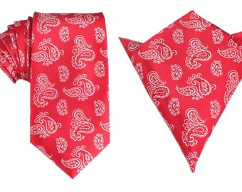 Matching Necktie + Pocket Square Combo Paisley Red Floral New OTAA (X255-T85+PS) Men's Handkerchief + Neck Tie 8.5cm Ties Neckties Wedding