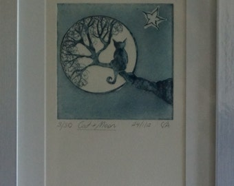 Original, limited edition etching on copper plate, cat on tree staring at the moon, french navy ink