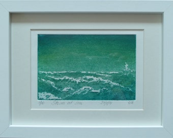 Limited edition etching, made from copper plate, storm rising in a green sea