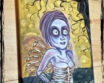 EXOSKELETON-Original Horror Goth Faery Skeleton Doll Art Oil Painting 11x14 on Canvas