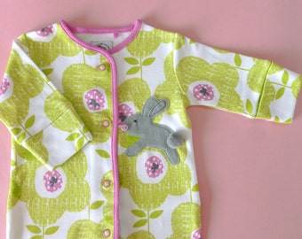 Out and about baby girl sleepsuit with a bunny applique Sizes first, 0-1mths, 3-6mths, 6-9mths, 12-18mths