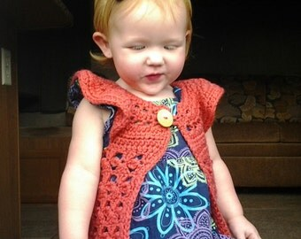 Crochet baby sleeveless sweater vest orange coral toddler girl  0-3, 3-6, 6-12, 12-18, 24 mths retro, fall outfit winter outfit girl baby