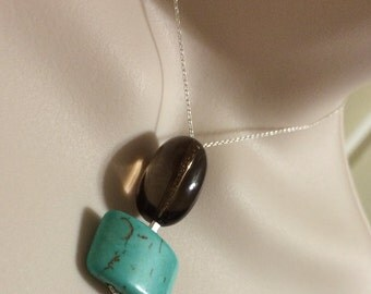 Sterling silver Smoky quartz and turquoise Howlite necklace.