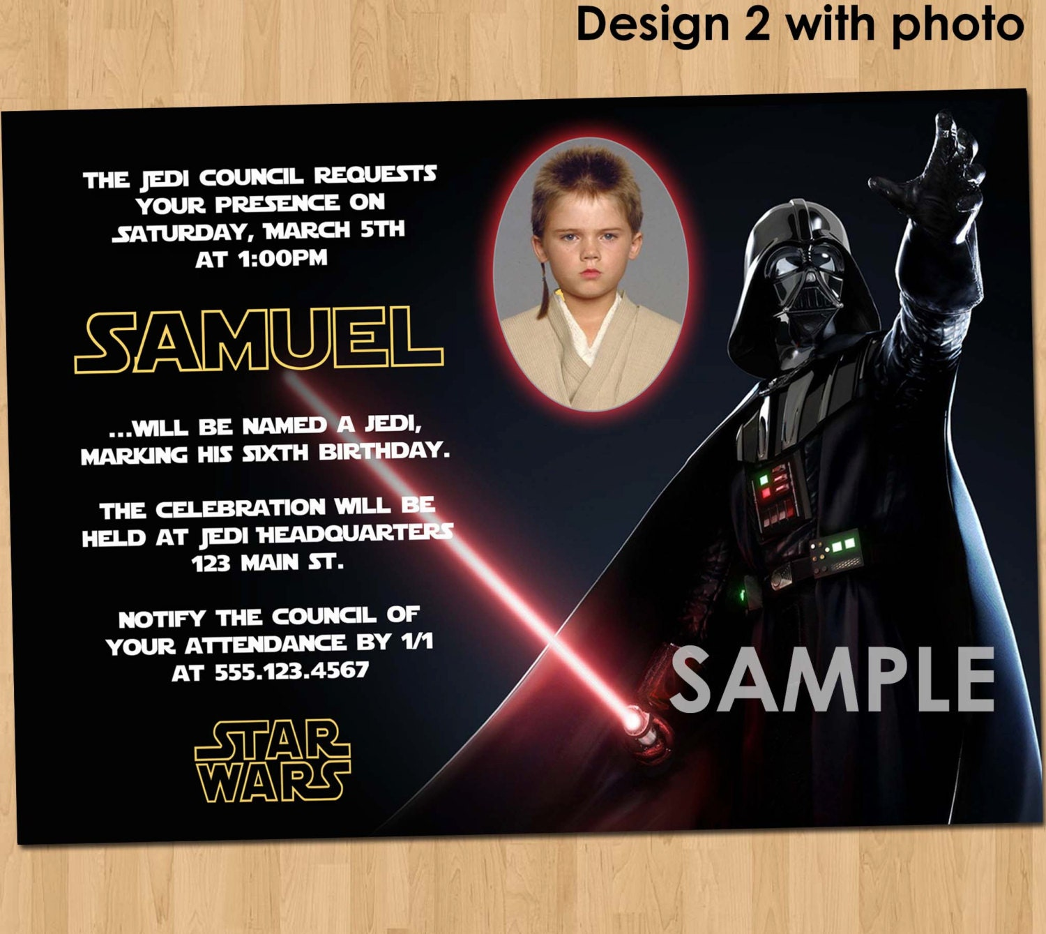 Star Wars Birthday Invitation Custom Invite Star