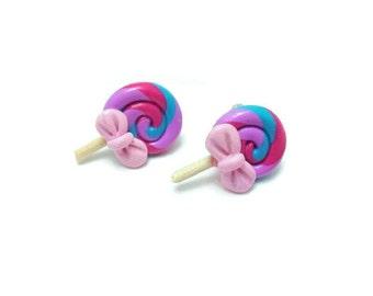 Lollipop Earrings, Miniature Sweet, Stud Earrings, Clip On Earrings, Food Jewelry, Cute Gift, Gift for her, Fun Earrings, Fun Jewelry