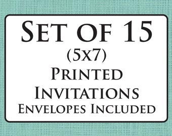 Set of 15 Printed Cards with Envelopes - Invitations