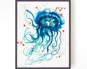 Jellyfish watercolor painting, Sea life print, Sea animal, Turquoise, Nautical art, Ocean animal, Bathroom art, Aqua blue, Buy 2 Get 1 Free