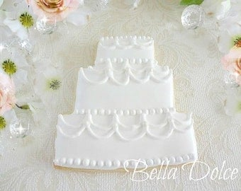 Elegant Lace Wedding Cake cookies - 2 Dozen (24) Beautiful - Engagement party - Wedding shower
