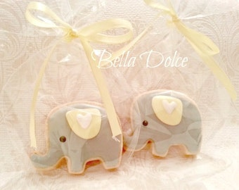 Sweet Grey and Yellow Baby Elephant Cookies - 1 Dozen (12) Baby Shower Favor - Birthday Gift