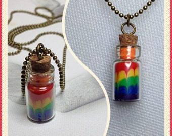 Miniature jewelry Rainbow smoothie inspired in a mini glass jar necklace