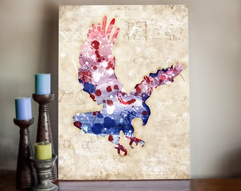 American Eagle Wall Art Canvas Print - Patriot USA Mixed Media Art Painting on Stretched Canvas - Independence Day, 4th of July, Decor Art