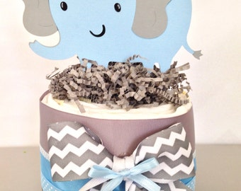 Mini Elephant Baby Shower Diaper Cake, Blue and Gray Elephant Baby Shower Centerpiece