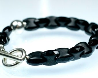 Magpie Bracelet - faceted black onyx links and sterling silver