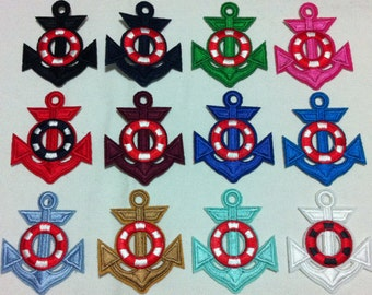 Colorful Anchor Per 1 Piece (4.5 x 6.5 cm) Embroidered Iron on Applique Patch (AL)