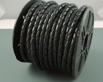 Leather Braided Cord, 4MM Black Bolo Leather, Excellent Quality All Leather, One Yard