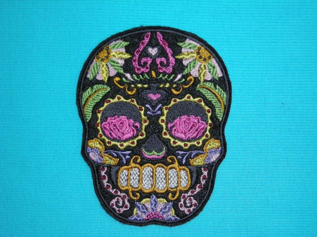 Sugar Skull Iron On Patch Roses 3 5/8 by 4 5/8