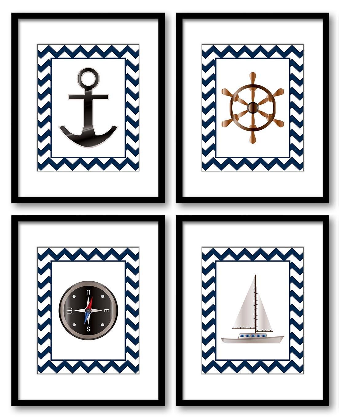 Nautical Ocean Marine Boy Art Nursery Art Nursery Print Baby Blue Chevron Set of 4 Prints Wheel Anch