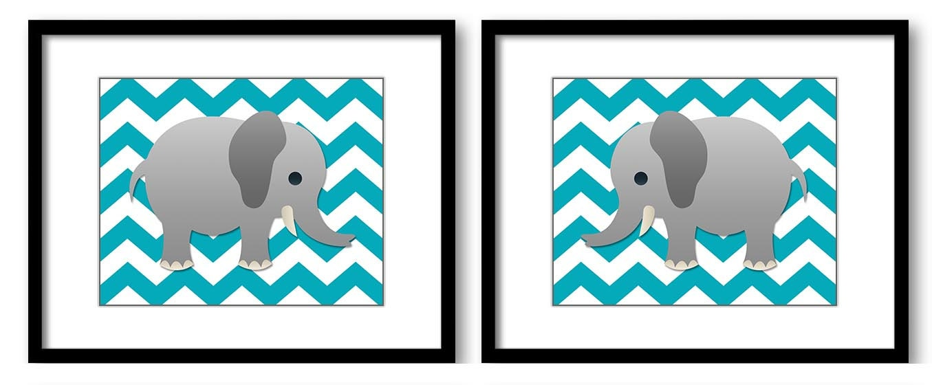 Turquoise Chevron Grey Elephant Nursery Art Nursery Print Set of 2 Elephants Child Art Prints Boy Ki