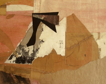 "Original abstract paper-collage with silk, ""Wüste - Desert"", 13""x9"""