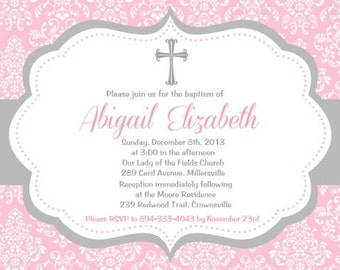 Baptism, Christening, Communion, Announcement,  Invitation - Printable or Printed