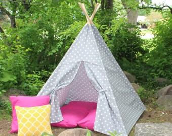 Gray Polka Dot, Play Teepee READY TO SHIP, Teepee, Kids Tent, Play Tent, Tee Pee, Teepee for Kids, Teepees, Playhouse, Indoor Teepee