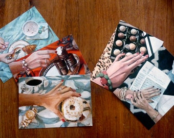 Postcard Set of 5 // Frau Süß Series // Food Art // Cynthia Katz