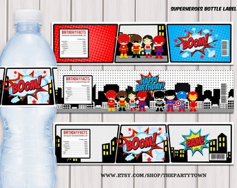 Superheroes Pop Art water bottle label / Superhero printable PDF / Instant download