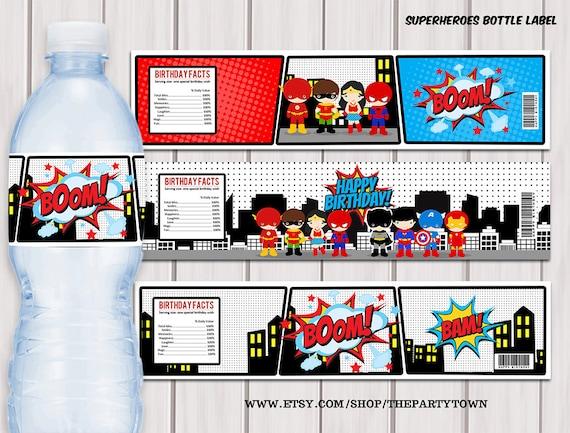Superheroes Pop Art water bottle label / Superhero printable