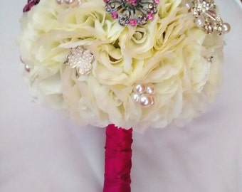 Pink & Ivory Brooch Bouquet SALE