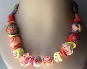 Summer necklace- EYE CATCHER- corals, kaki, yellow