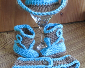 Newborn Baby Crochet Cowboy/ Cowgirl Hat, Boots & Diaper Cover Photo Prop....