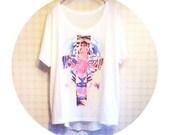 Tiger Face Short Sleeve T-shirt Top Blouse