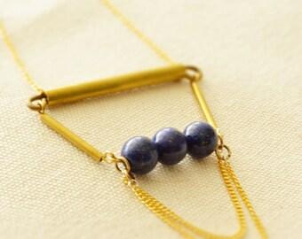 Unique Brass Necklace, Natural Stone Adorned Necklace