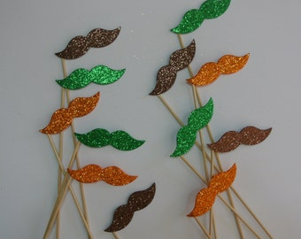 Thanksgiving   Photo Booth Party Props  autumn colors mustache on a stick orange green  brown mustaches Thanks giving party favor table