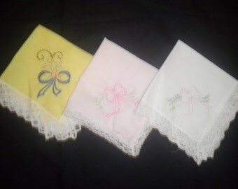 Women's New Embroidered Lace Hankies - Set of Three