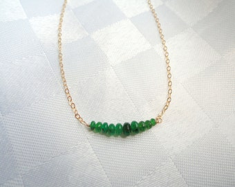 14k gold fill Emerald necklace, Gold emerald necklace, Gemstone necklace, Emerald birthstone necklace, May birthstone necklace,Gifts