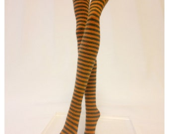 Dolls stockings/socks for Monster high doll -Orange+dark green stripes #No.659