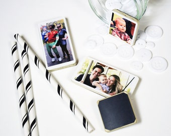 Set of 4, Magnet Photo Personalized Mini in Poplar Wood of your baby, family great gift for grandparents, mother's day gift, gift for mom