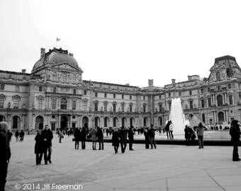 The Louvre, Paris - Black and White Photo Print