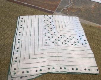 """Vintage 30"""" Square White Scarf With Green, Black, and White Dots and Linear Design"""