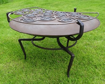 large blacksmith hand made garden fire pit/ wok/ dish/ removable dish and grill 700mm