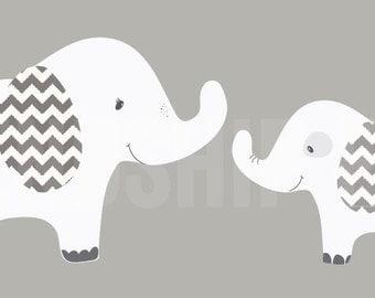 Elephant Wall Decal, Nursery Wall Decal, Elephant wall decal, grey and white chevron, kids room wall decal, Grey & White Chevron