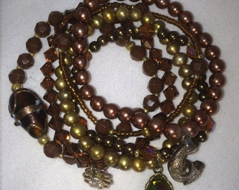 Brown / Bronze Stretchable Beaded Bracelet Set of Six
