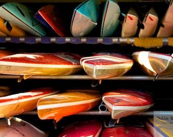 Photo print: kayaks in London. Fine art photography. Photography